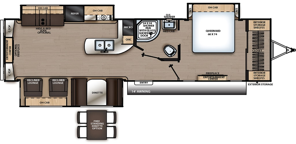 Image of floorplan for 2019 Catalina 333RETSLE by Coachmen RV