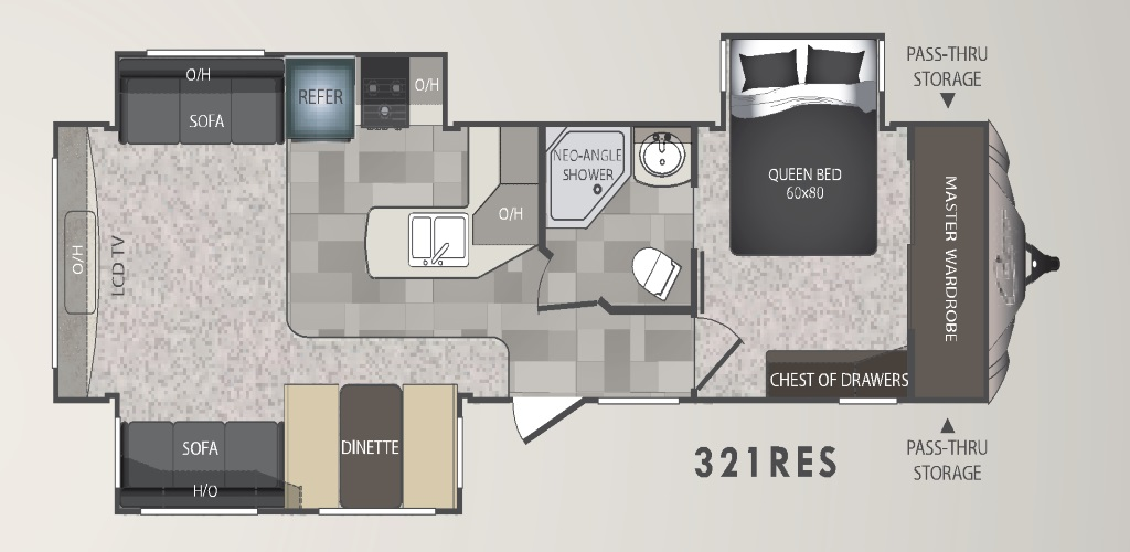 Image of floorplan for 2014 Cougar 321RES by Keystone RV