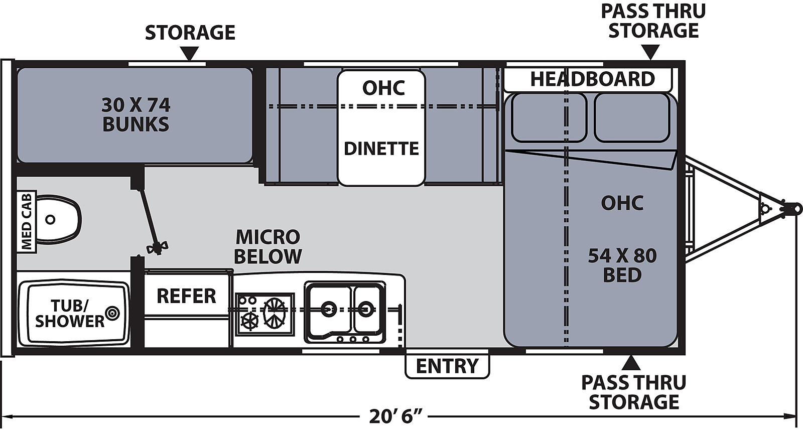 Floorplan for Apex Nano Ultra Light  model 185 BH