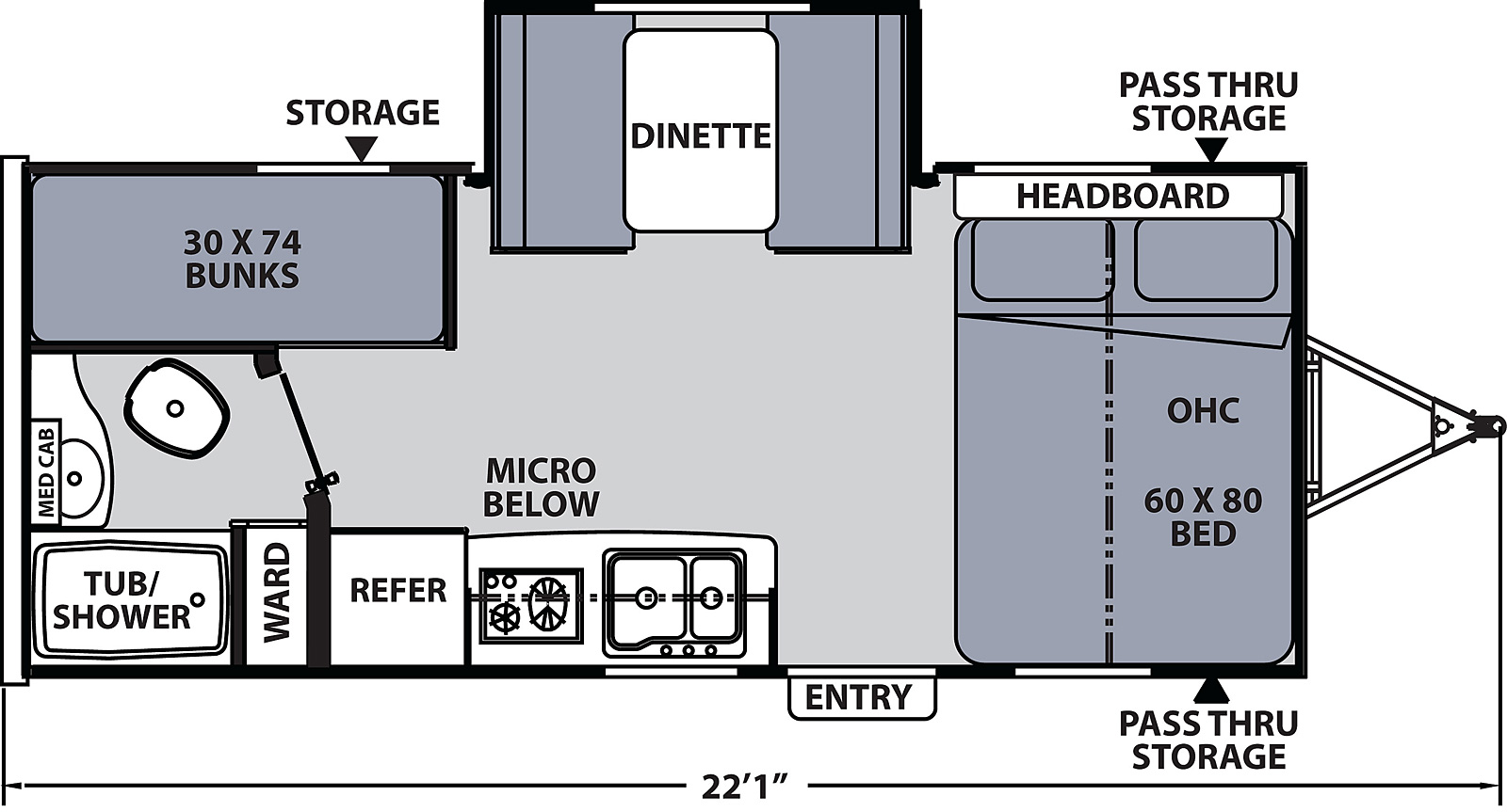 Floorplan for Apex Nano Ultra Light  model 193 BHS