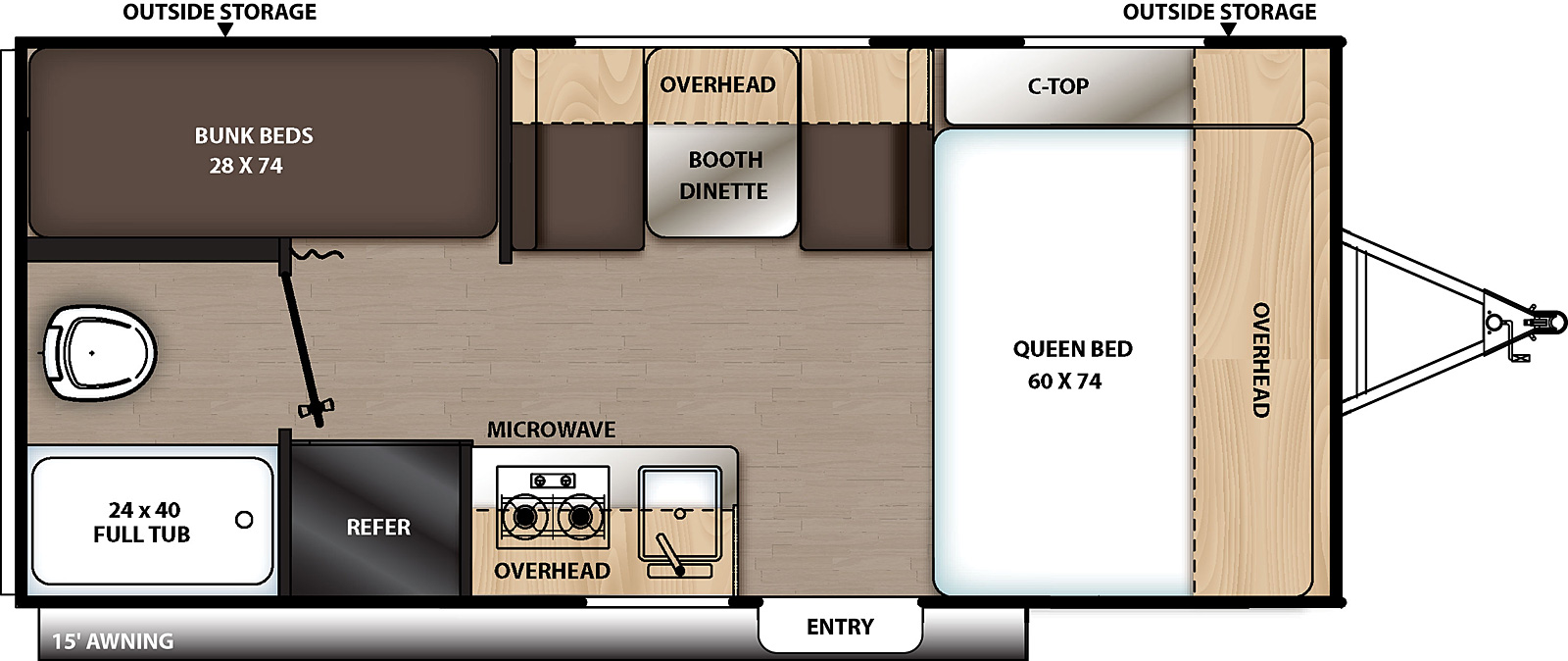 Floorplan for Catalina Summit Series 7 Travel Trailer model 174BH