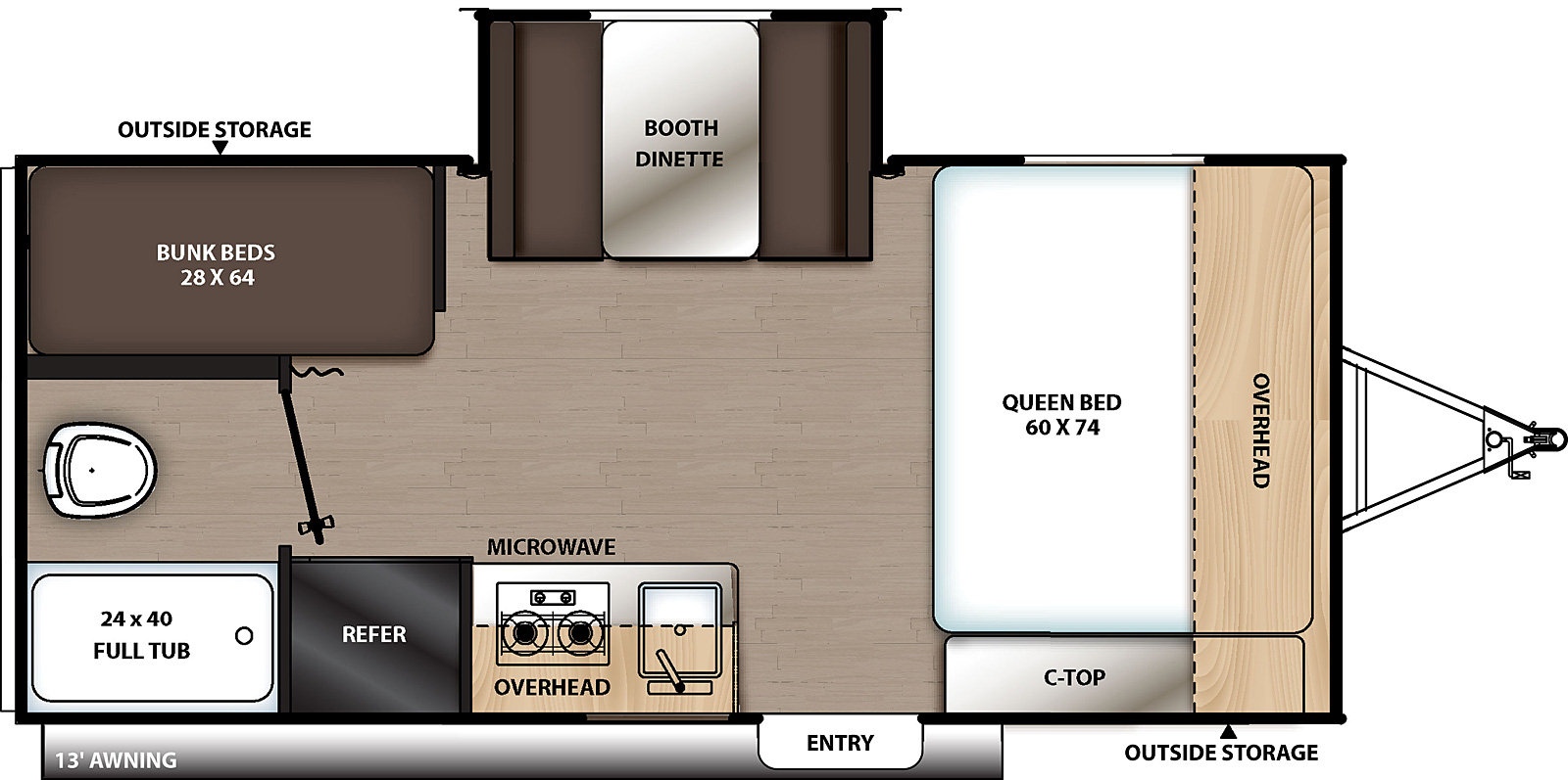 Floorplan for Catalina Summit Series 7 Travel Trailer model 174BHS