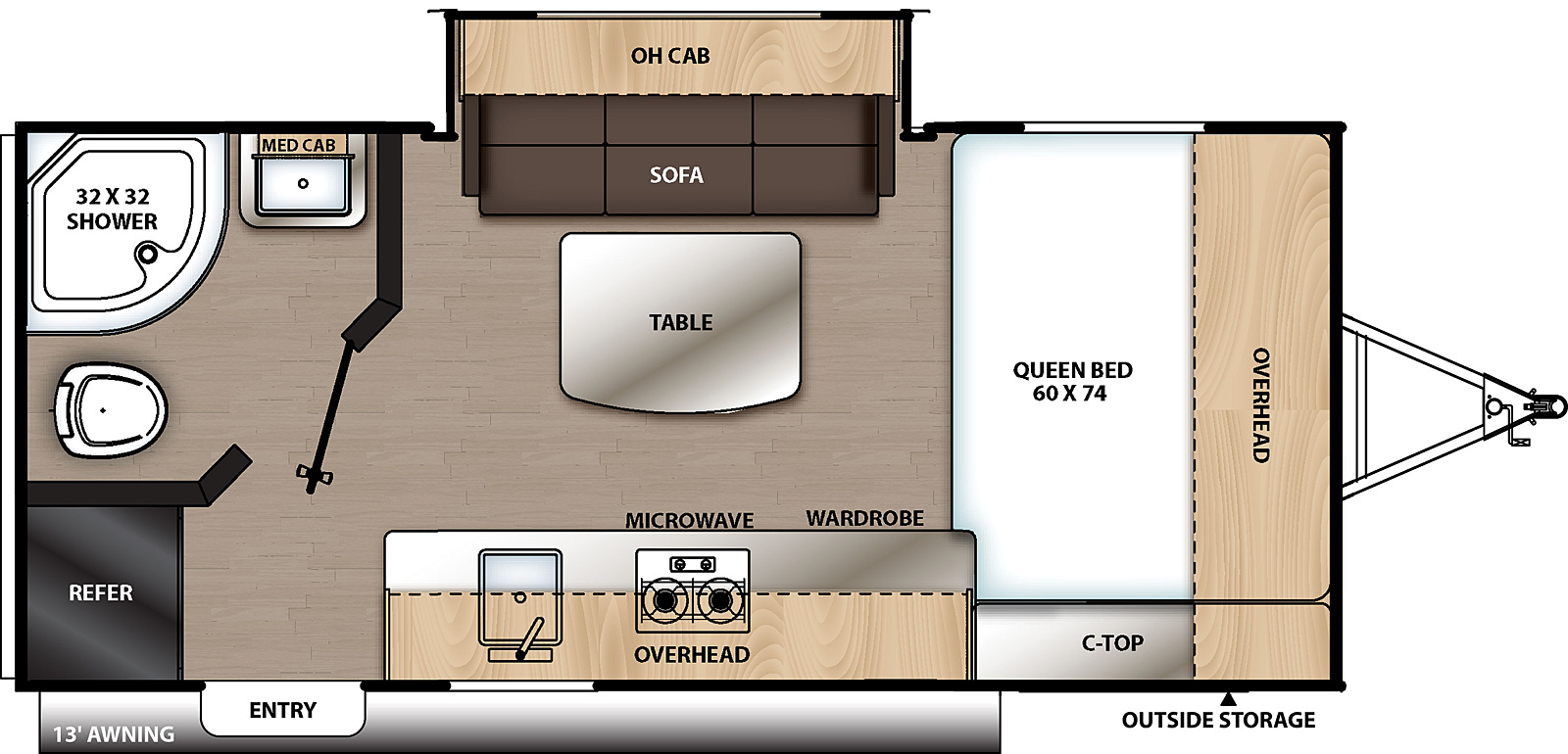 Floorplan for Catalina Summit Series 7 Travel Trailer model 174FQS