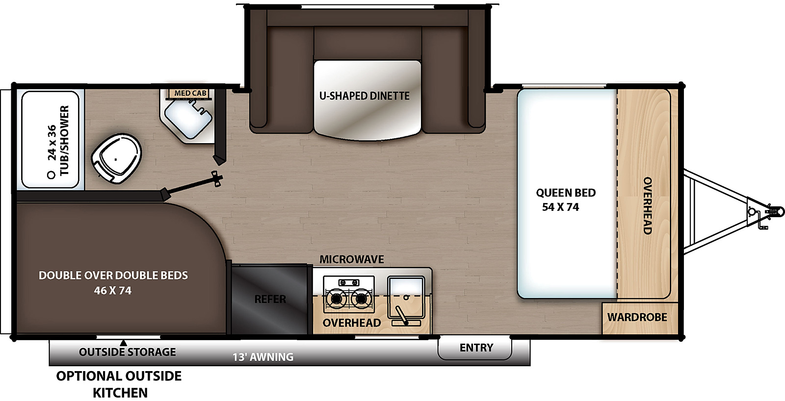 Floorplan for Catalina Summit Series 7 Travel Trailer model 184BHS