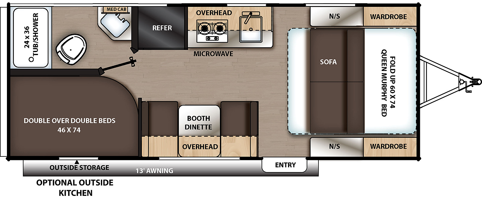Floorplan for Catalina Summit Series 7 Travel Trailer model 184DBK