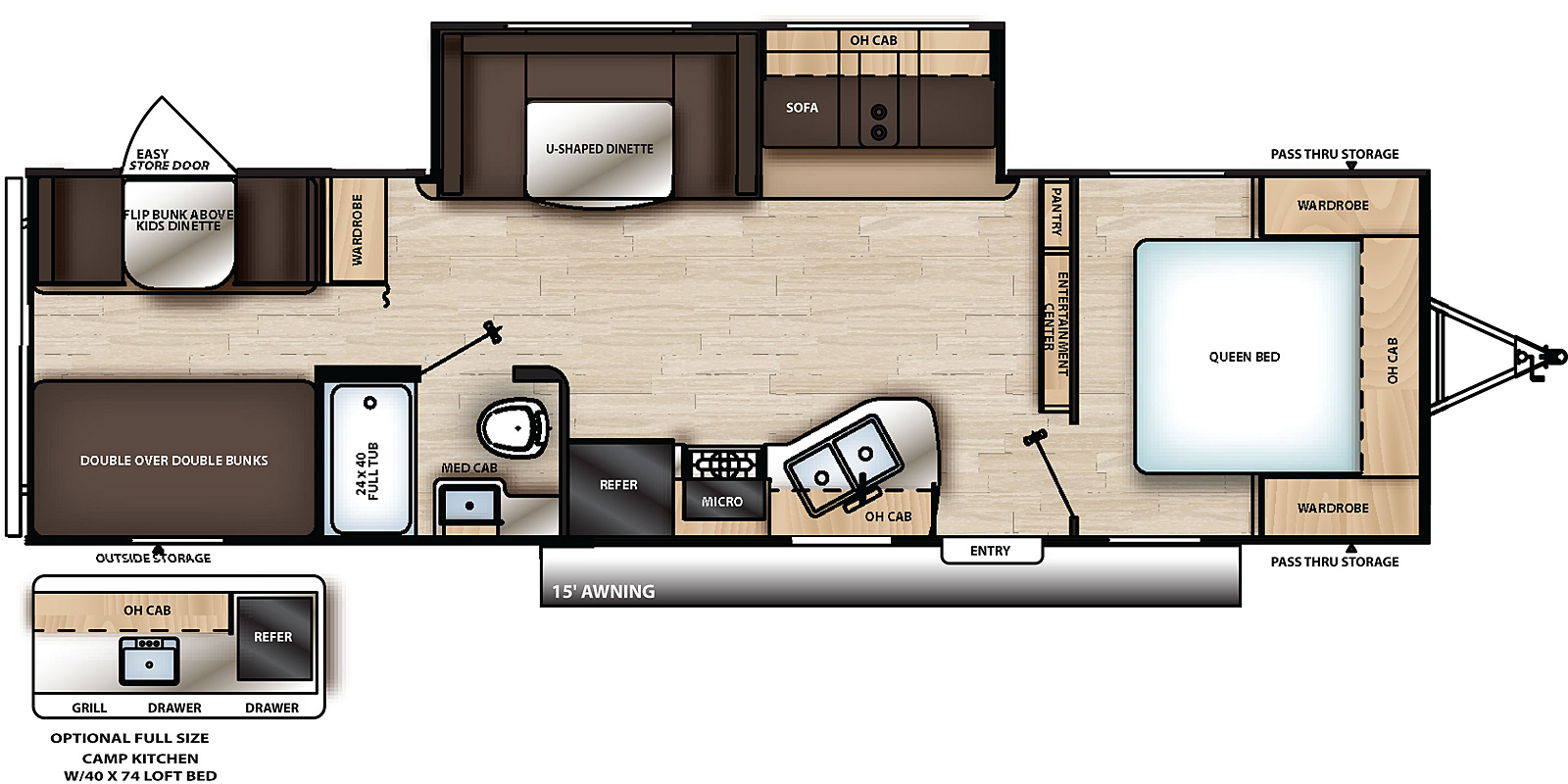 Floorplan for Catalina Summit Series 8 Travel Trailer model 291BHS