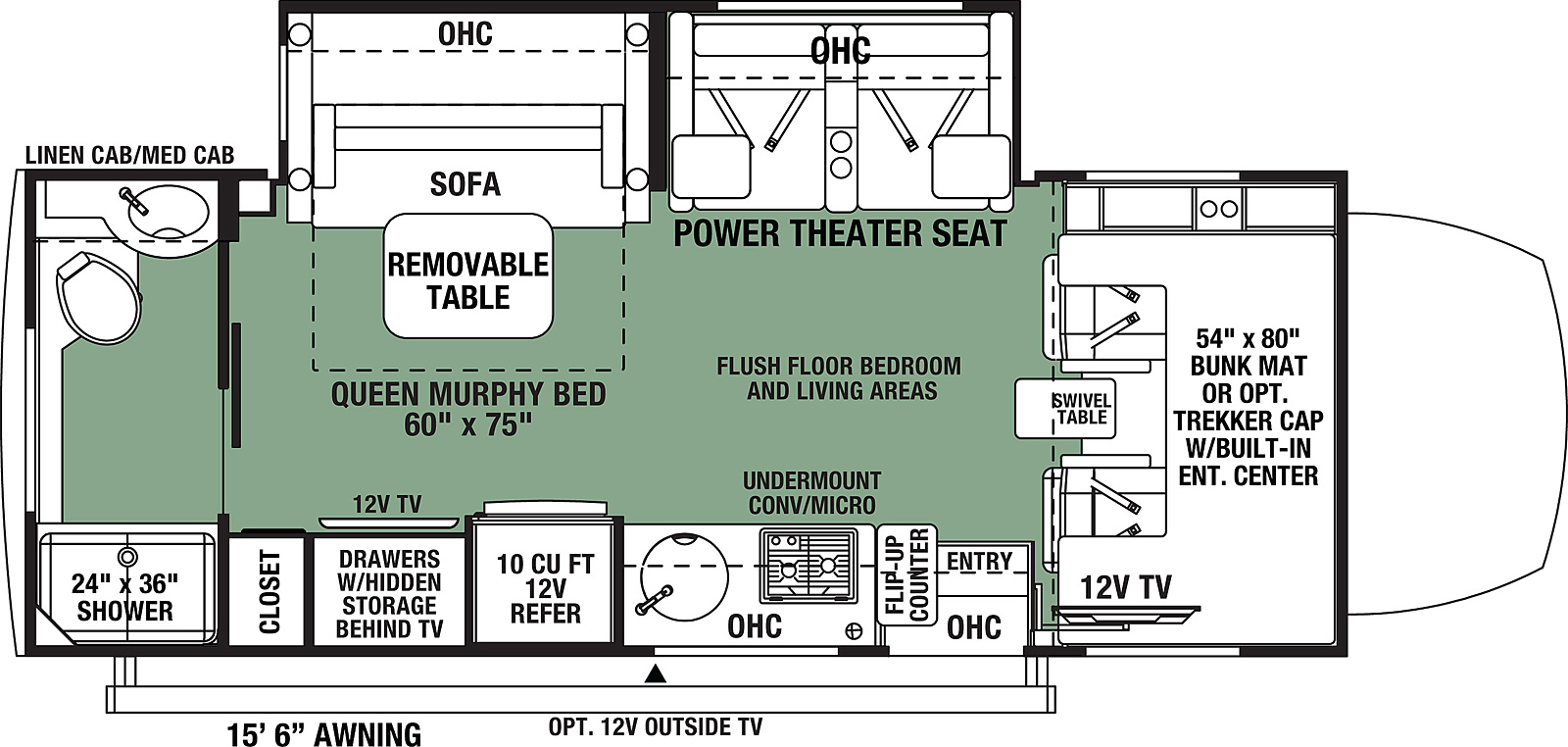 Floorplan for Forester MBS Motorhome model 2401T