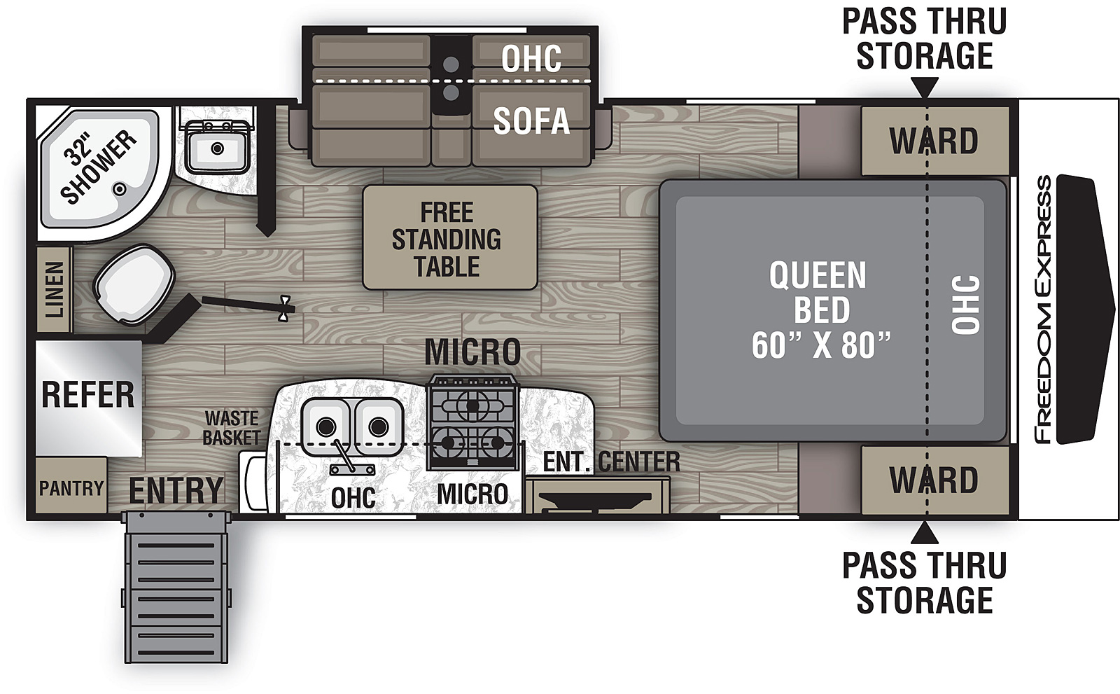 Floorplan for Freedom Express Ultra Lite Travel Trailers model 192 RBS