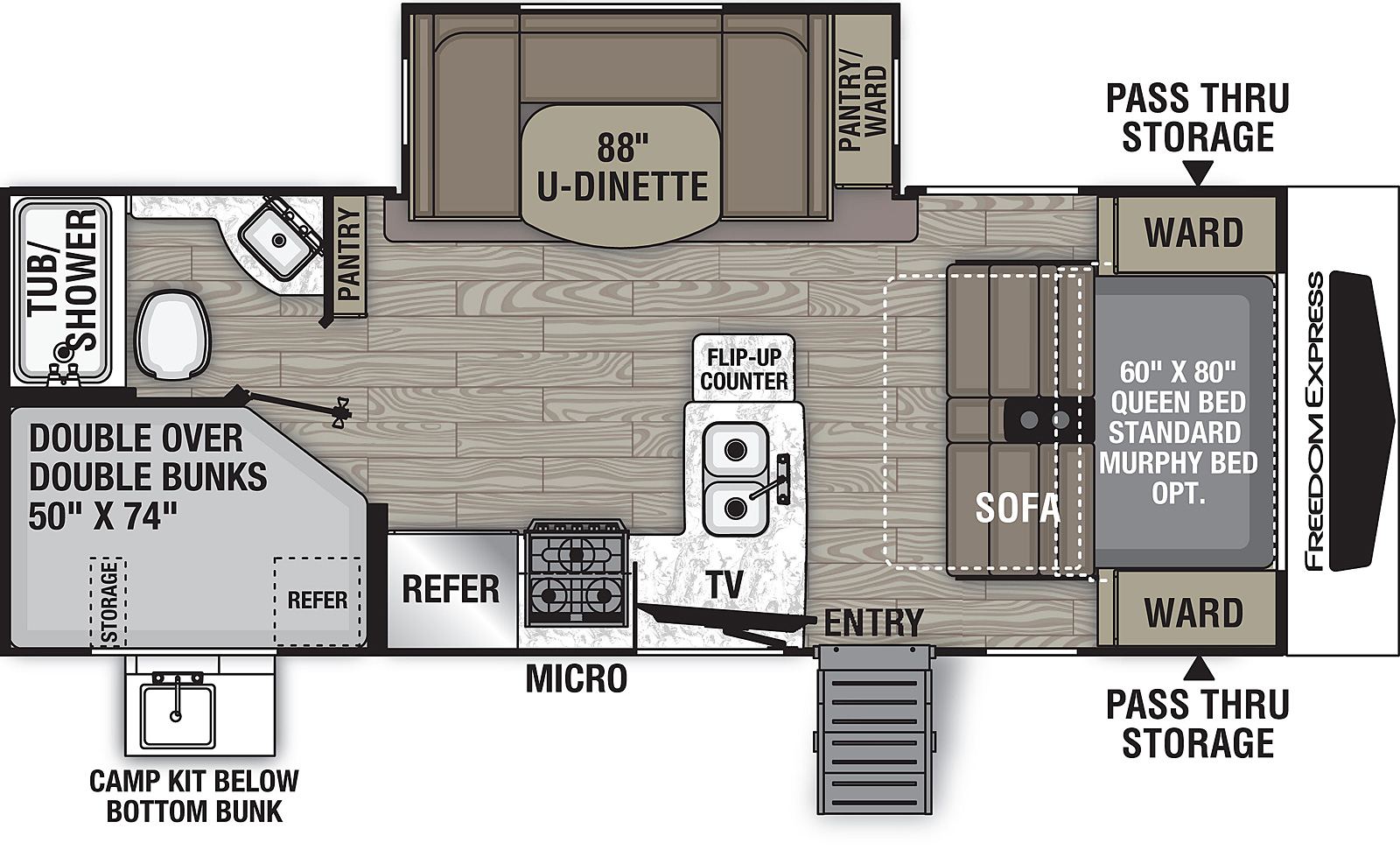 Floorplan for Freedom Express Ultra Lite Travel Trailers model 238 BHS