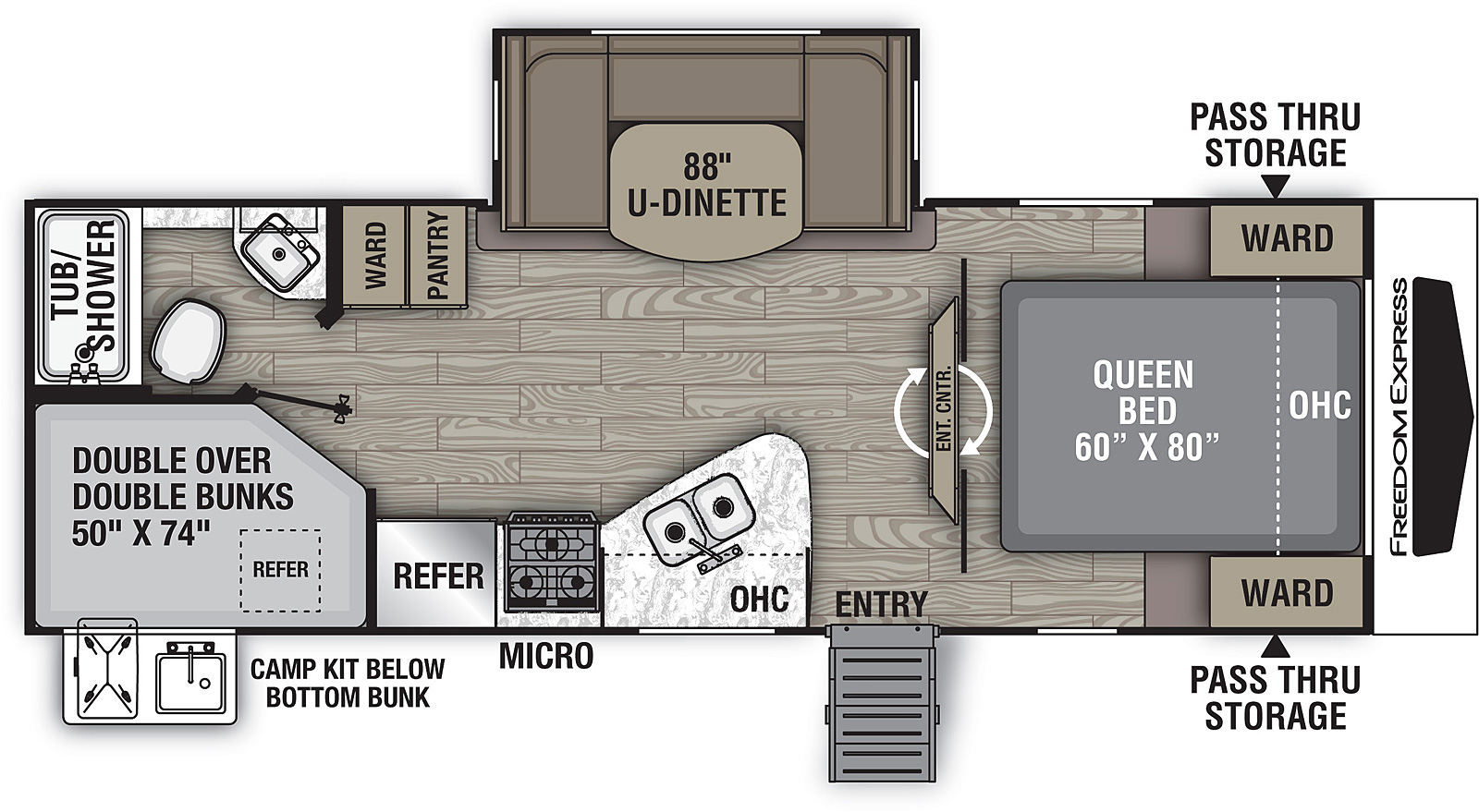 Floorplan for Freedom Express Ultra Lite Travel Trailers model 257 BHS