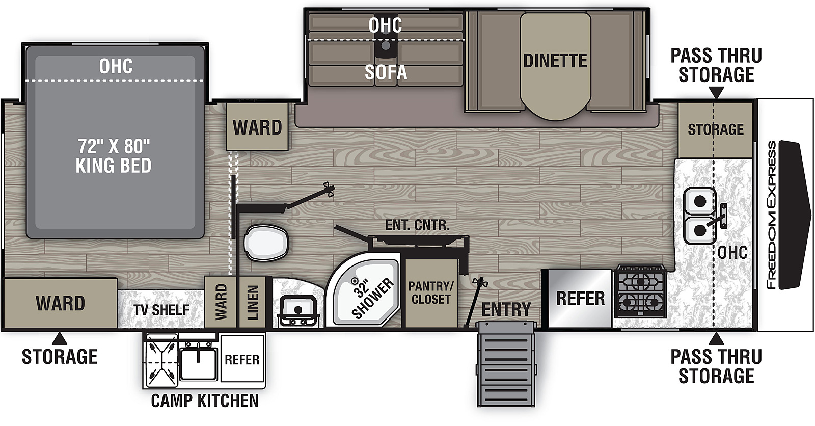 Floorplan for Freedom Express Ultra Lite Travel Trailers model 259 FKDS