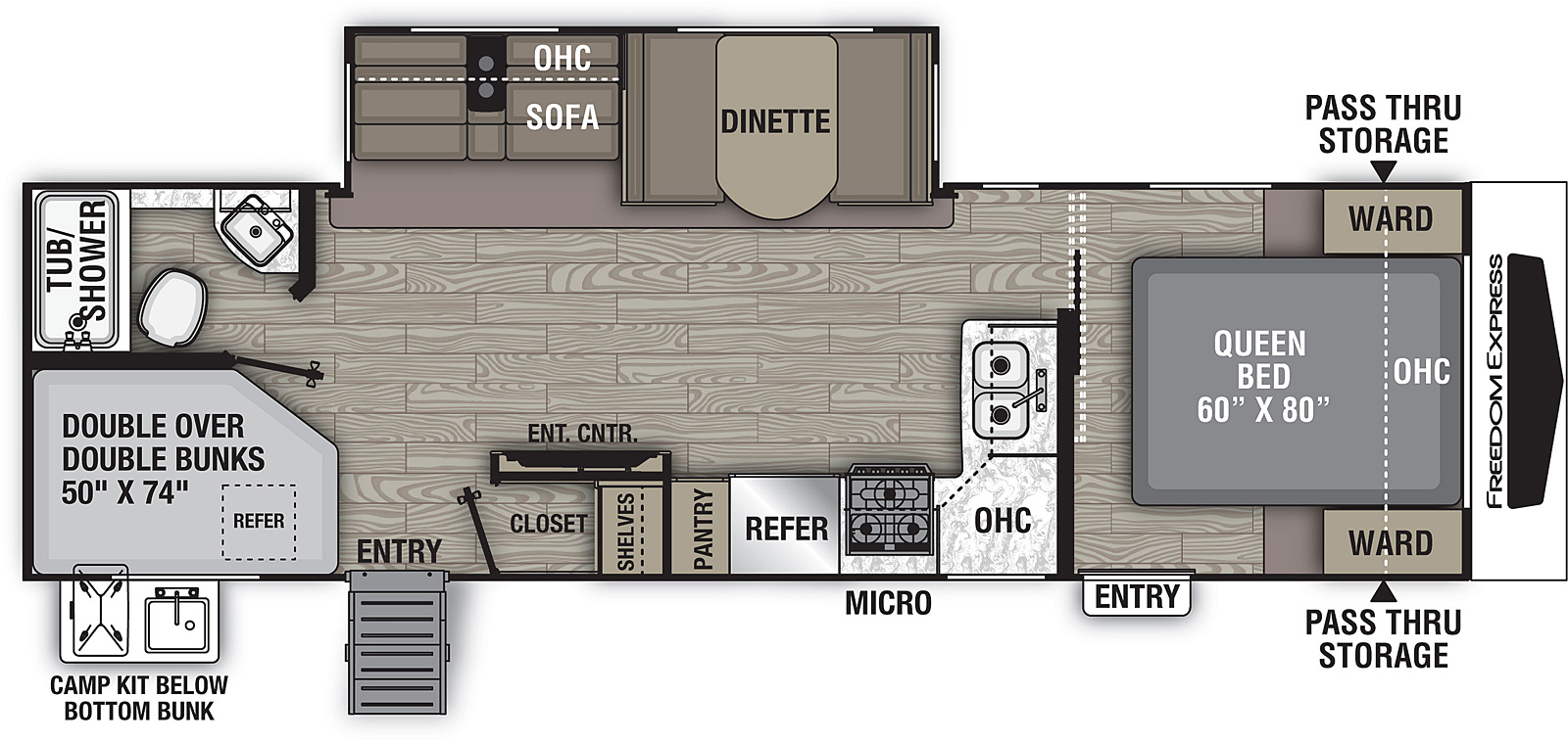 Floorplan for Freedom Express Ultra Lite Travel Trailers model 287 BHDS