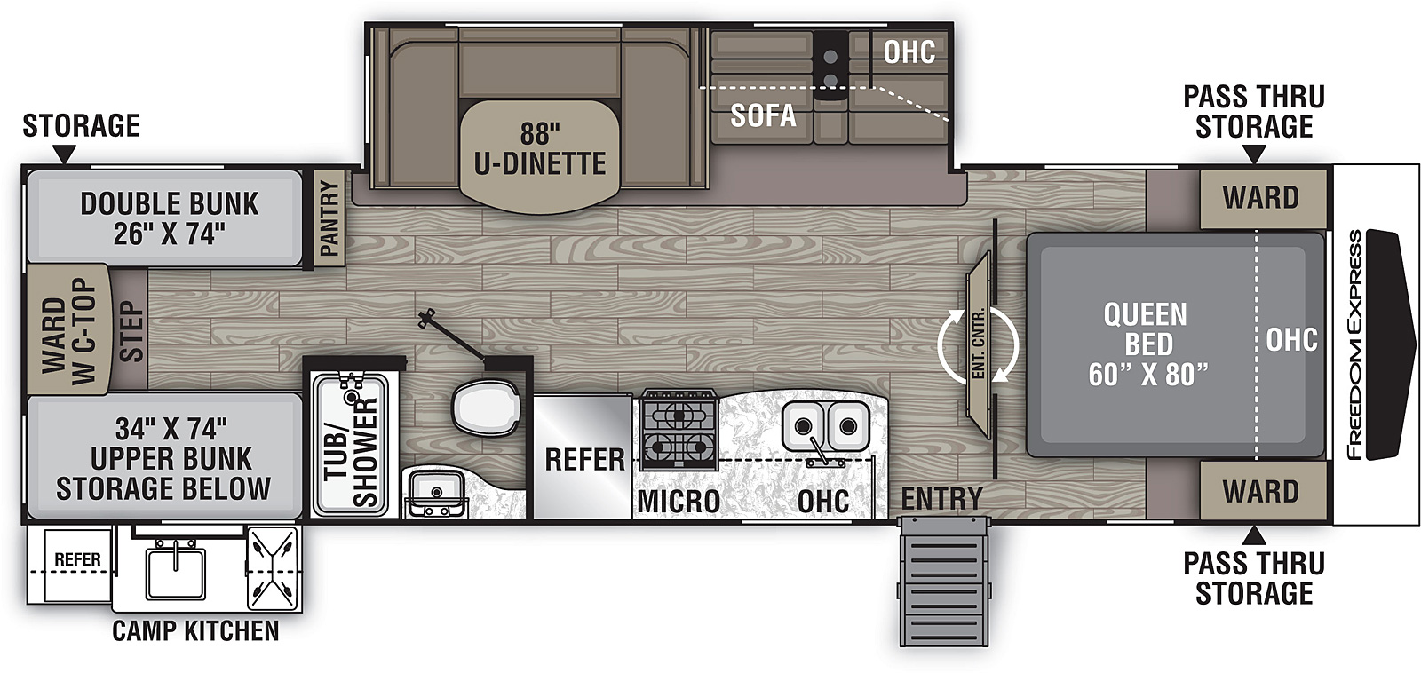 Floorplan for Freedom Express Ultra Lite Travel Trailers model 292 BHDS