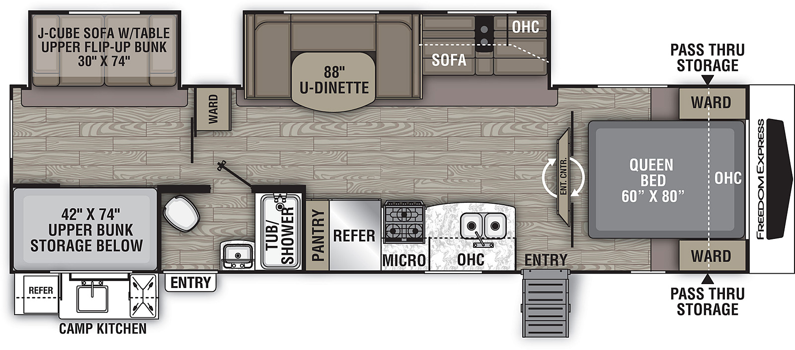 Floorplan for Freedom Express Ultra Lite Travel Trailers model 310 BHDS
