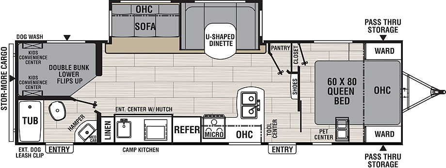 Floorplan for Northern Spirit Travel Trailer model 2963BH