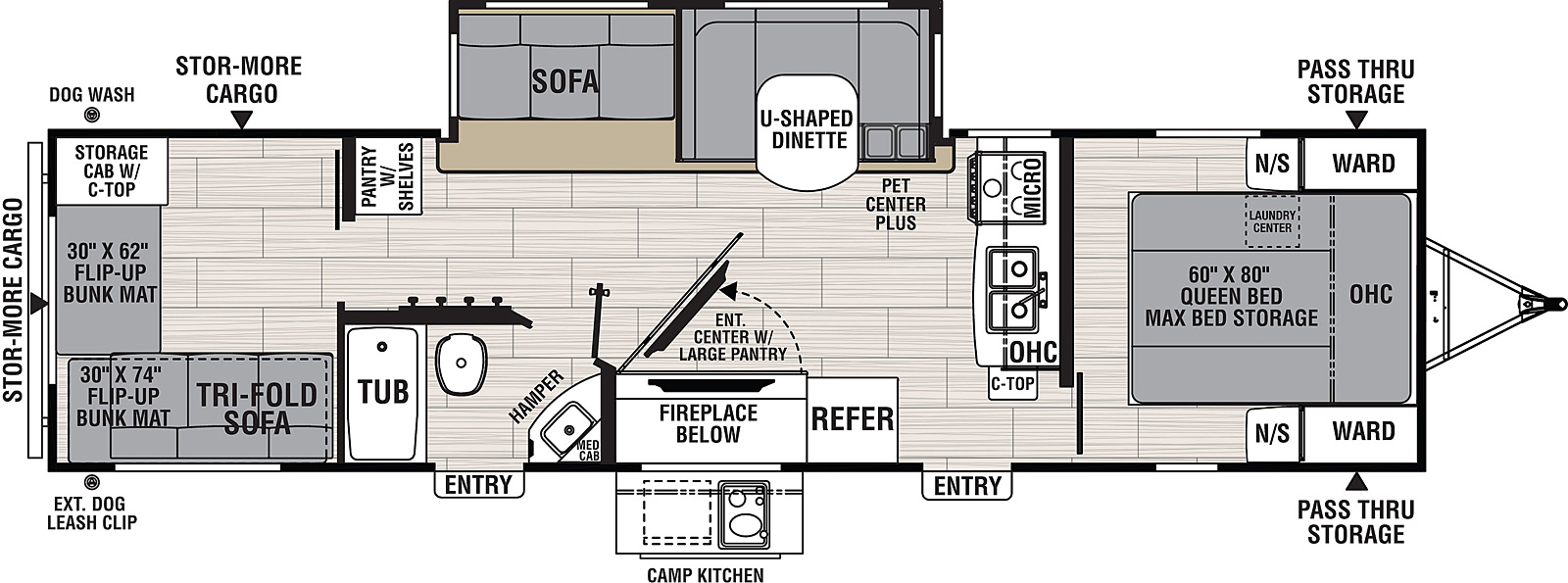 Floorplan for Northern Spirit Travel Trailer model 3272BH